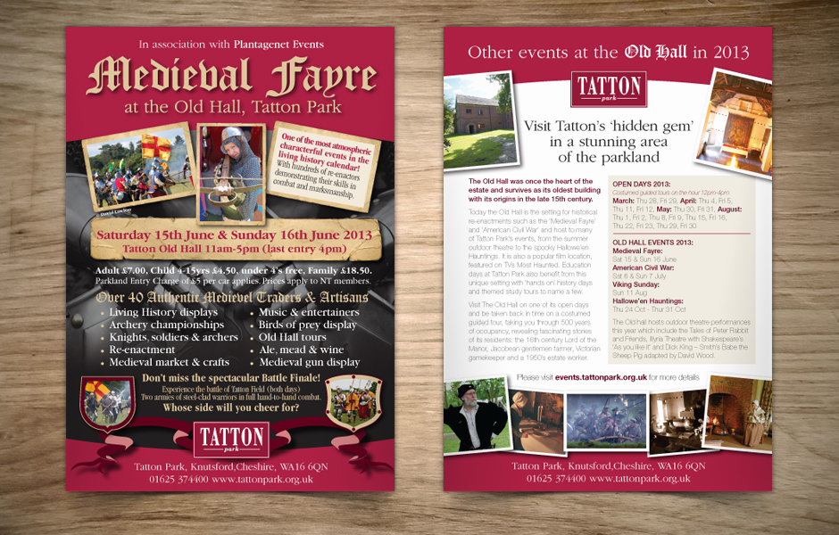 Tatton Park Medieval Fayre Flyer